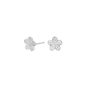Pendientes de plata con circonita en forma de Flor