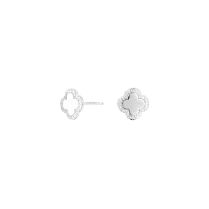 Pendientes Cube en forma de flor de plata y circonita