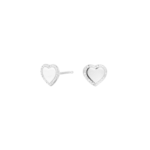Pendientes de plata Cube Corazón con circonitas
