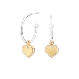 Pendientes aros Cube Corazón de plata y baño de oro