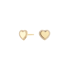 Pendientes de plata Cube Corazón de botón dorado