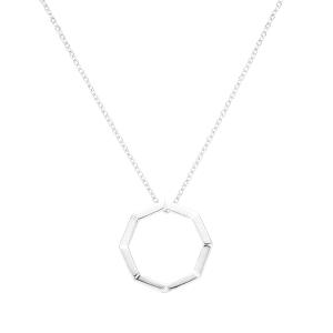 Gargantilla de plata Screw con colgante octogonal
