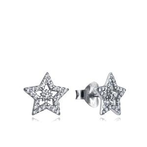 Pendientes de plata con circonita forma estrella