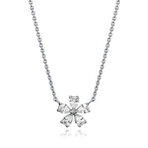 Collar plata de ley en forma de flor con circonita