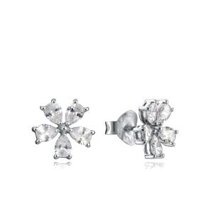 Pendientes de plata en forma de flor con circonita