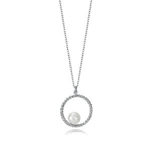 Collar plata de ley con bolitas y perla central
