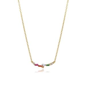 Collar en plata dorada con circonitas mulitcolor