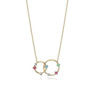 Collar con plata dorada con circonitas multicolor