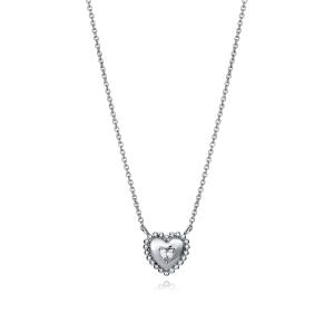 Gargantilla de plata con forma de corazon con circonita