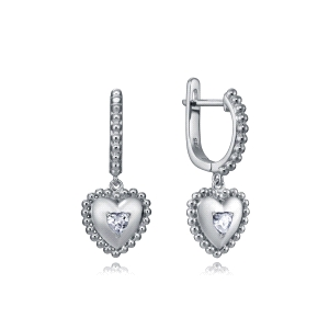 Pendientes de plata con circonita forma de corazon