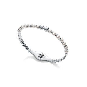 Pulsera rigida de acero con perlas sinteticas