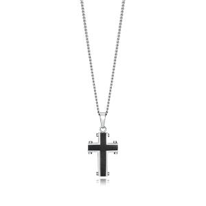 Collar Magnum con cruz en acero bicolor