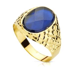 Sello Oro 18kt tallado con piedra azul ovalada