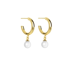 Pendientes de Plata Dorada con Perlas