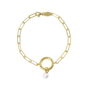 Pulsera de Plata dorada con charm de perla