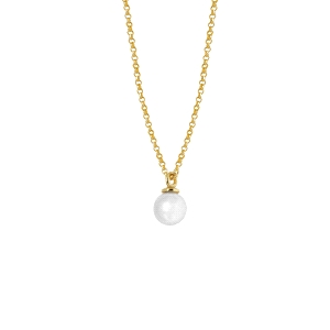 Cadena de Plata dorada con Colgante de perla
