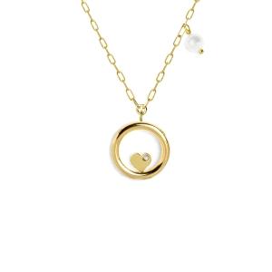Gargantilla Plata dorada circulo con corazon