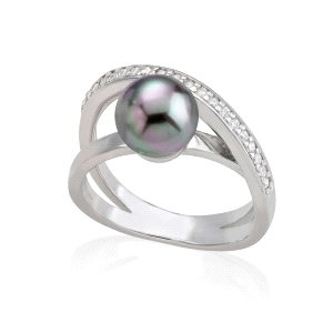 Anillo Exquisite de Plata con Perla Gris 8mm