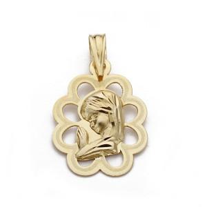 Medalla Virgen Niña calada Oro 18kt 18 X 13mm