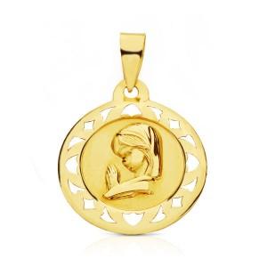 Medalla con motivos calados de Virgen Niña hecha en Oro 18kt - 18 mm
