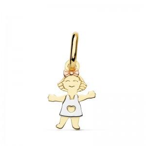 Colgante de niña en Oro Blanco, Amarillo y Rosa en 18Kt y 12mm de alto