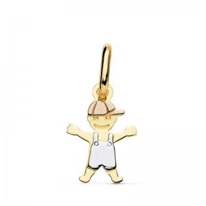Colgante de niño en Oro Blanco, Amarillo y Rosa en Oro de 18 Kt y 12mm de alto