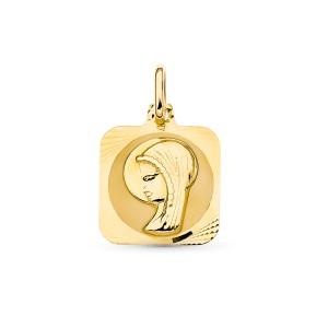 Medalla Virgen Niña Oro 18kt 16 X 13mm