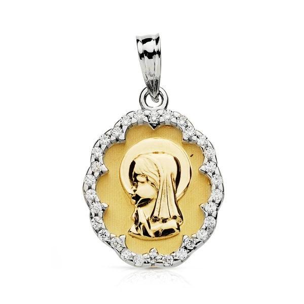 Medalla Virgen Niña Oro 18kt borde circonitas 20 X 14mm