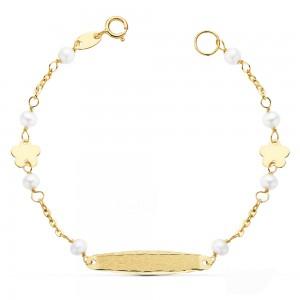 Esclava para niña en Oro 18kt con perlas y flores 13,5cm