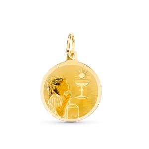 Medalla con niña Oro 18kt esmaltada 15mm