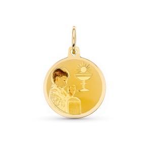 Medalla con niño Oro18kt esmaltada 15mm