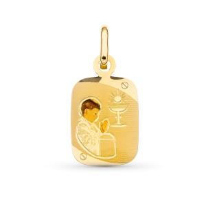 Medalla con niña Oro 18 KT esmaltada 20 X 12 mm.