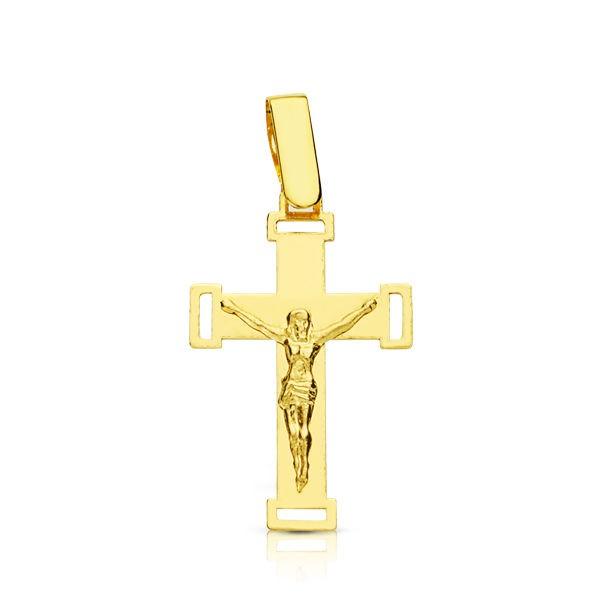 Cruz calada plana con Cristo de Oro 18kt.