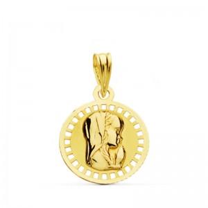 Medalla Virgen Niña Oro 18kt 17 x14mm