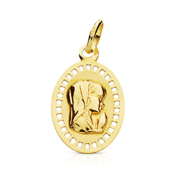 Medalla Virgen Niña Oro 18KT calada 19 x12mm