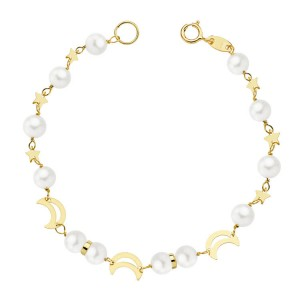 """Pulsera """"Mesquida"""" de niña en Oro 18kt para Comunión con perlas y lunas - 17cm"""