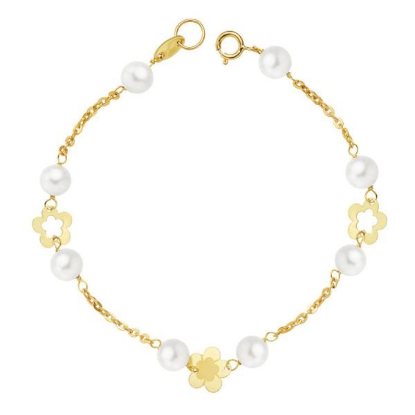 Pulsera Oro 18kt 1ª Comunión con perlas y flores caladas 17cm
