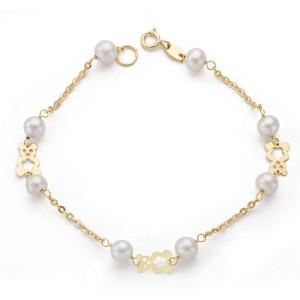 """Pulsera """"Bassa"""" para niña en Oro 18kt 1ª Comunión con perlas y ositos calados - 17cm"""