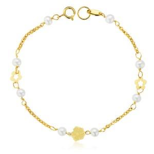 """Pulsera """"Mitjana"""" Oro 18kt para niña con perlas cultivadas flores caladas y cadena de 17cm"""