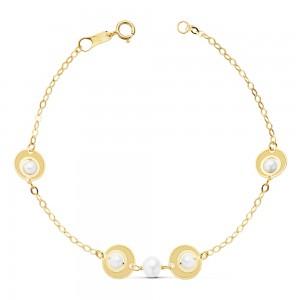 """Pulsera """"Millor"""" para niña en Oro 18 kt con perlas blancas 18cm"""