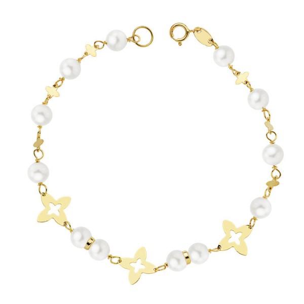 """Pulsera """"Llenya"""" de Comunión para niña Oro 18kt con perlas y estrellas - 18cm"""
