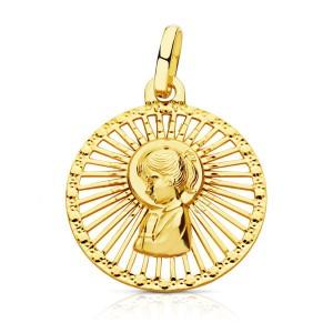Medalla con Virgen Niña central y calado alrededor en Oro 18kt 21 x 18mm