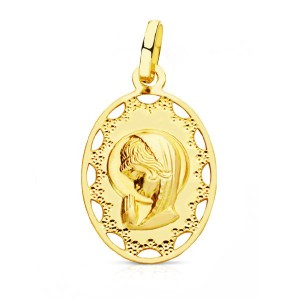 Medalla oval con Virgen Niña y borde calado en Oro 18kt 23 x 14mm