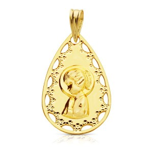 Medalla con borde calado y Virgen Niña rezando hecho en Oro 18kt 22 x 14mm