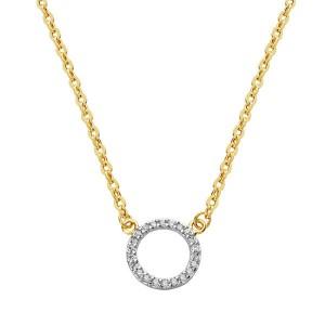 Gargantilla en Oro Amarillo y Círculo en Oro Blanco de 18Kt con cadena veneciana