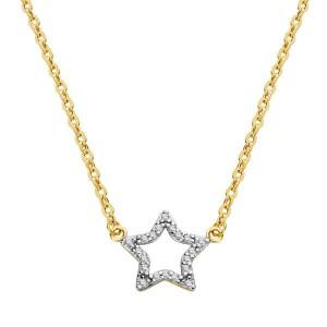 Gargantilla de Oro 18kt de estrella con circonitas y cadena forzada
