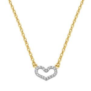 Gargantilla formada por cadena forzada en oro amarillo y corazon de pavé con circonitas