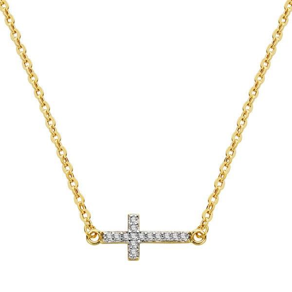 Gargantilla formada por cadena forzada en oro amarillo y cruz de pavé con circonitas
