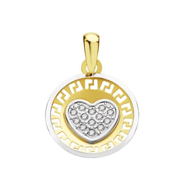 Colgante Oro 18kt bicolor corazon con circonitas