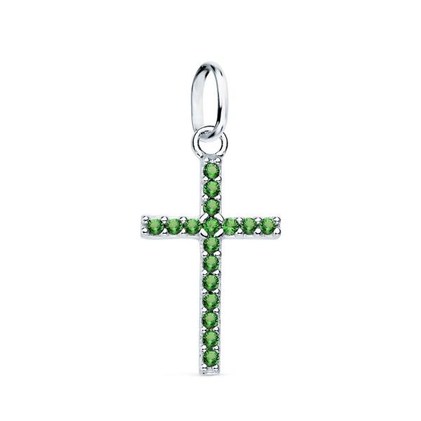 Cruz de Oro Blanco 18kt con Circonitas Verdes